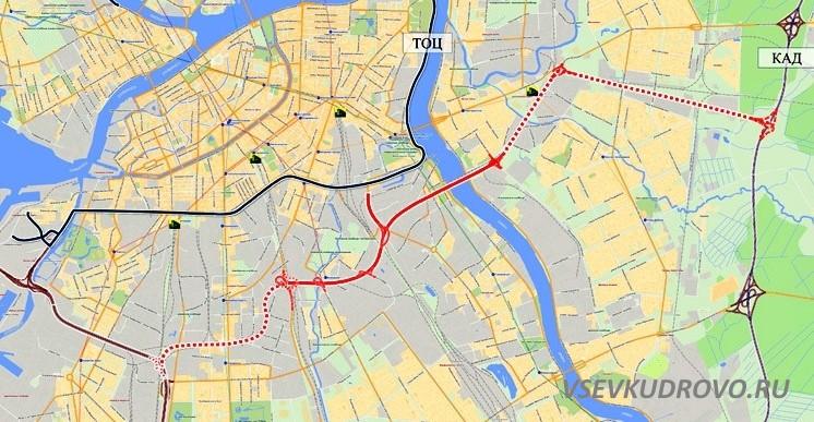 Восточный скоростной диаметр санкт-петербург схема
