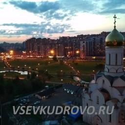 Храм в Кудрово с высоты полёта
