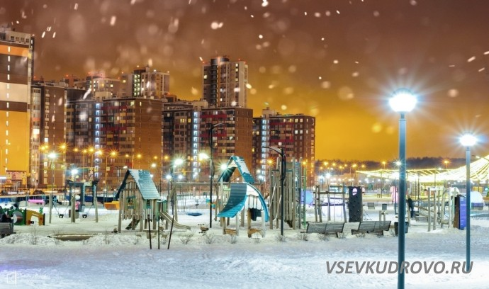 МегаПарк Дыбенко в снегу