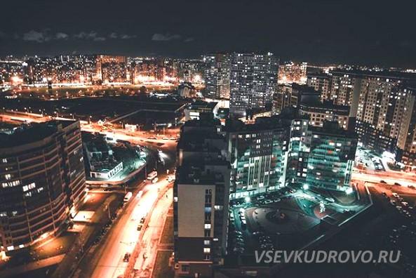 Кудрово ночью