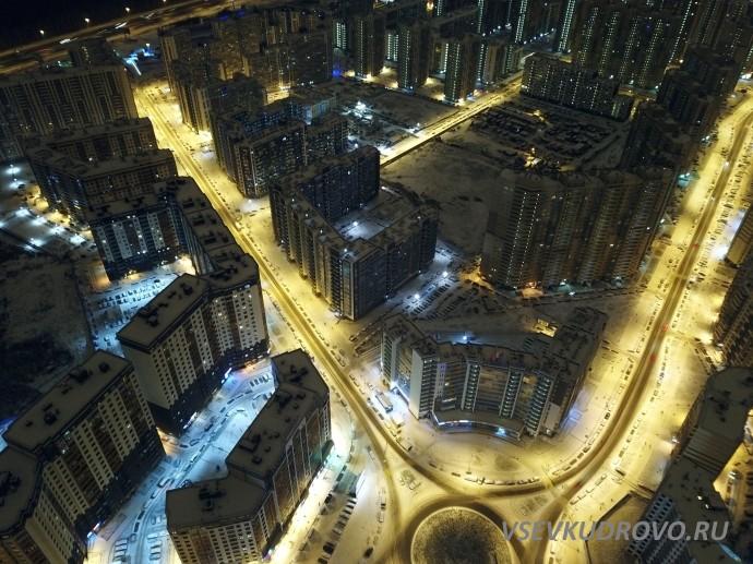 Ночное Кудрово с высоты